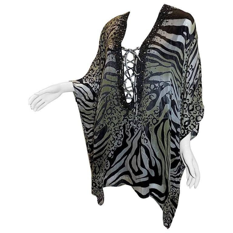 "Camilla ""Jungle"" animal laser cut lace up caftan"