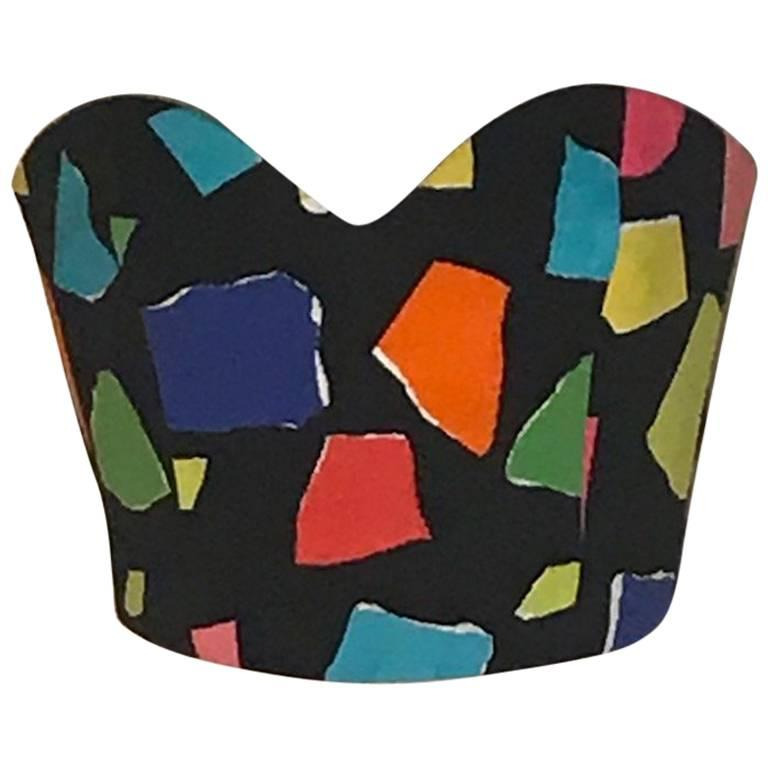 2a2fef1b443 Moschino Couture Black and Multi Color Abstract Print Tie Back Tube Top  Bustier For Sale