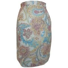 Etro silk print beaded skirt