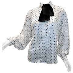 Louis Feraud polka dot blouse with tie sz 14