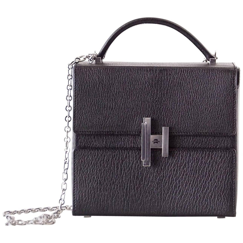 628a77ae2a Hermes Cinhetic Runway Black Chevre Palladium Limited Edition Bag at 1stdibs