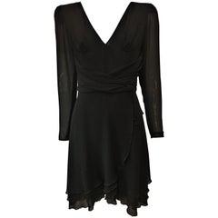 Emanuel Ungaro Black Silk Ruffle Dress