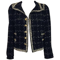 Elaborate Edward Achour Wool Blend Tweed Black and White Cropped Jacket