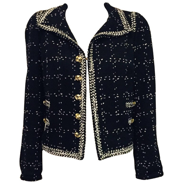 c92052a5234e2 Elaborate Edward Achour Wool Blend Tweed Black and White Cropped Jacket For  Sale