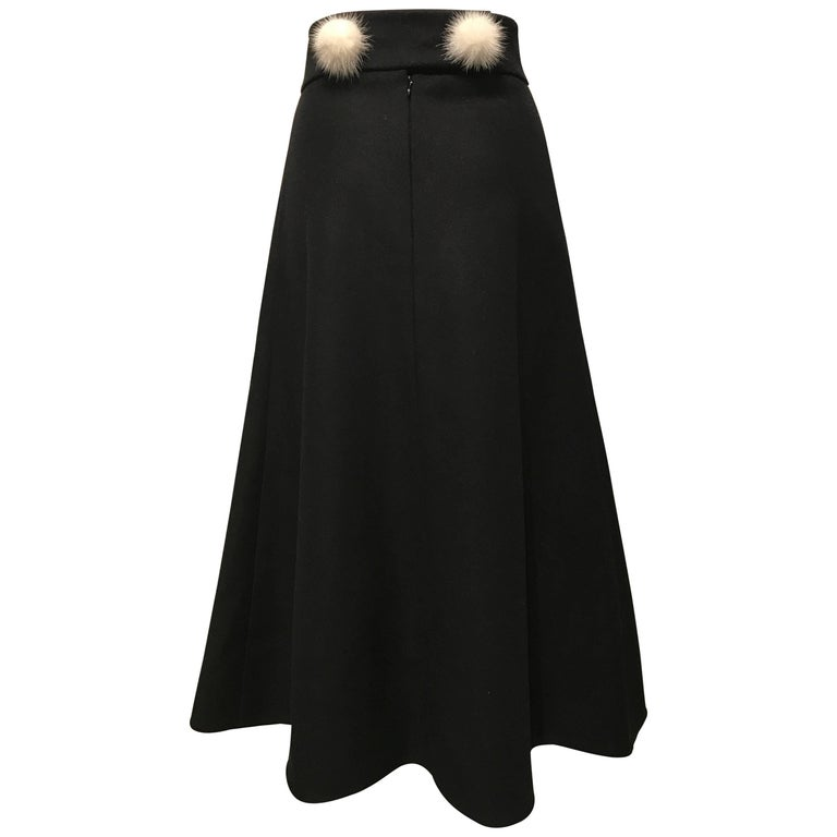 Louis Vuitton Black Wool Skirt With White Mink Pompons Sz36 (Us 4)