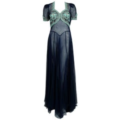1930's Navy Blue Couture Beaded Embroidered Sheer Net Puff Sleeve Bias-Cut Gown