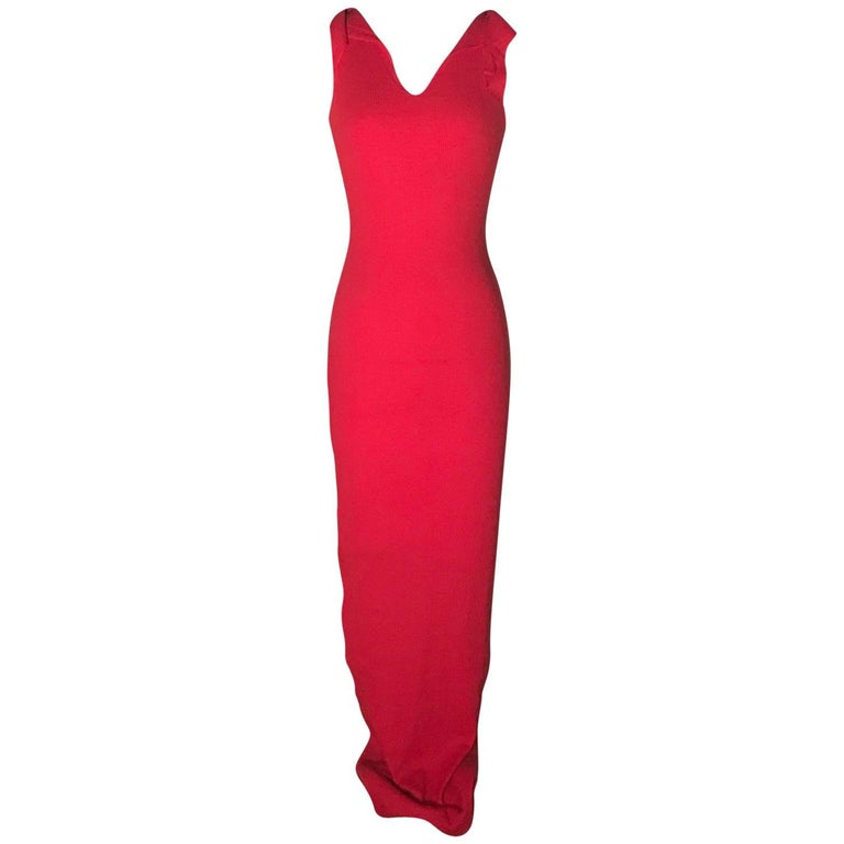 Patrick Kelly Red Rib Knit Raw Edged Backless Body-Con Maxi Dress, 1980s