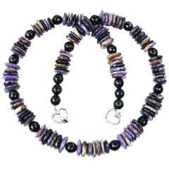 Chunky  Purple Charoite Slice Necklace
