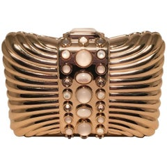 Judith Leiber Vintage Gold Box Clutch with Pearl Details