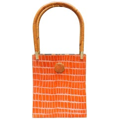 Kenzo Orange Embossed Leather Handbag with Bamboo Handles, 1980s