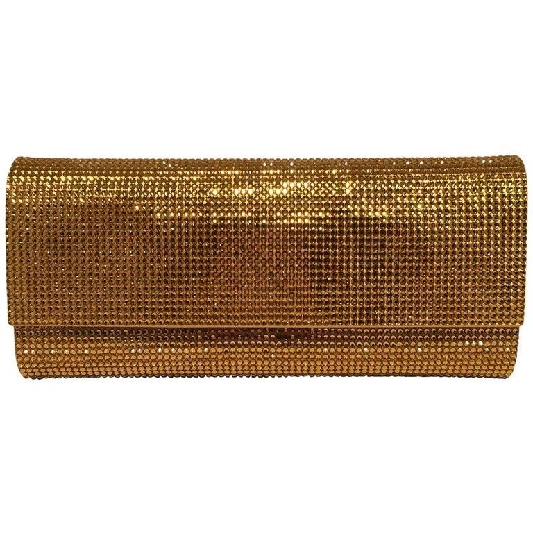 Judith Leiber Gold Crystal Evening Bag Clutch For Sale