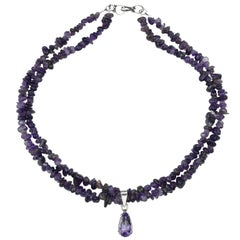 Double Strand Amethyst Necklace with Amethyst Pendant
