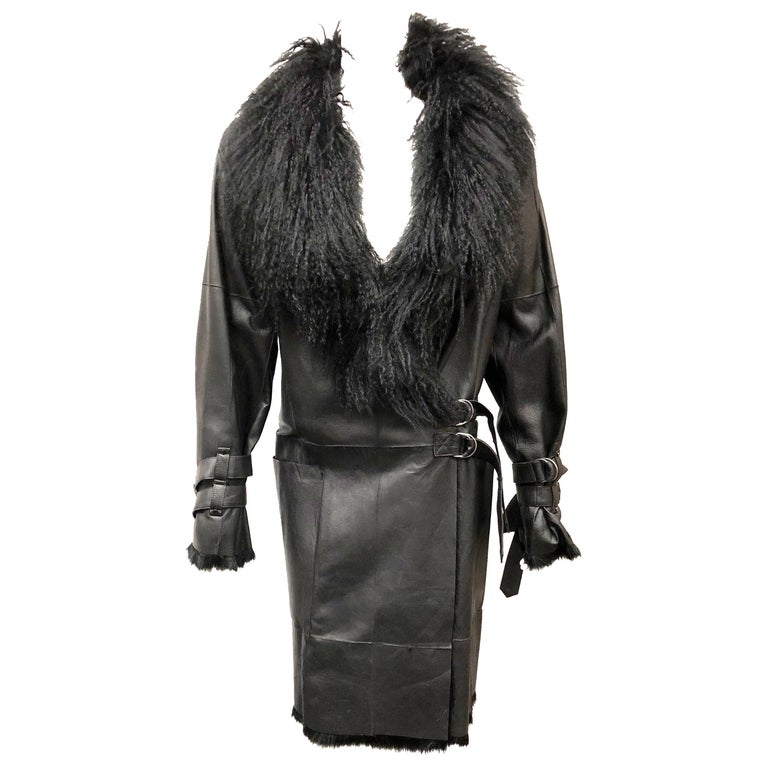 9d37ee58764f Plein Sud Black Leather and Fur Coat, Size 38 For Sale at 1stdibs