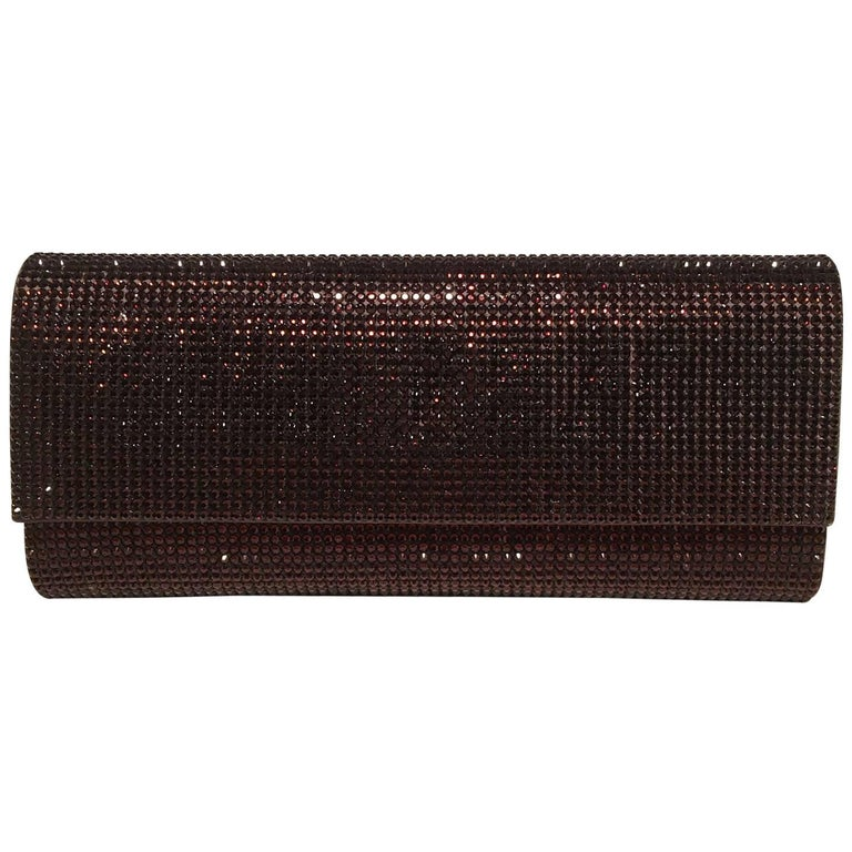 Judith Leiber Dark Red Crystal Evening Bag Clutch