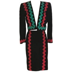 Yves Saint Laurent Suede Black Red Green Purple Zig Zag Skirt Suit Jacket, 1990s