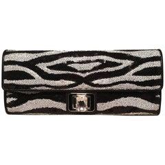 Judith Leiber Zebra Stripe Sequin Clutch