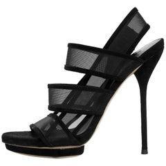 Gucci Black Mesh Strappy Sandals Sz 36