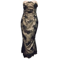 L'Wren Scott for Barneys Champagne Satin Black Lace Overlay Strapless Dress