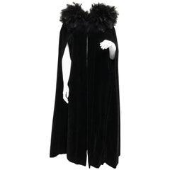 French Vintage Full Length Black Velvet and Feather Cape