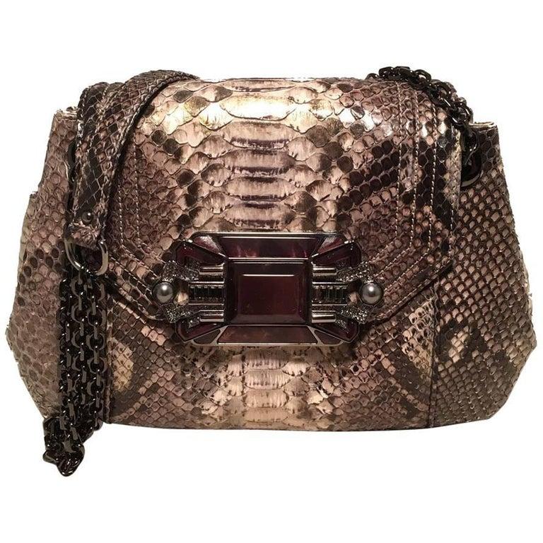 Judith Leiber Natural Grey Python Snakeskin Shoulder Bag