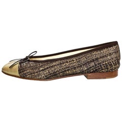 Chanel Brown Woven CC Cap-Toe Flats Sz 36 with DB