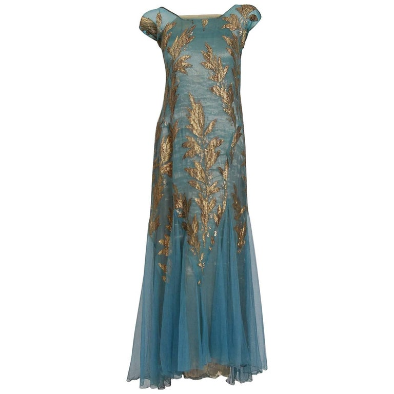 1930 39 s french couture metallic gold lam leaf motif blue for French couture dresses