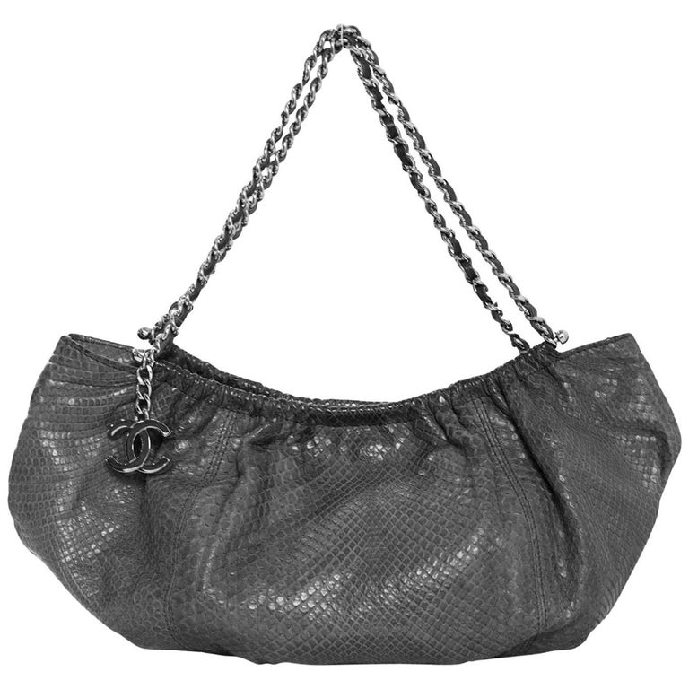 Chanel Grey Python Small Shoulder Bag with CC