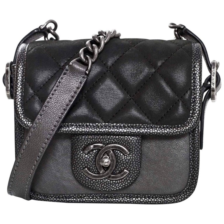 e4b3e899dc42 Chanel Grey Iridescent Paris/Bombay Back to School Mini Flap Crossbody Bag  For Sale. Chanel Anthracite Grey Iridescent Calfskin ...