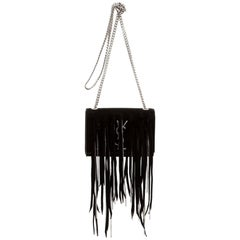 Saint Laurent Black Suede Embellished Fringe Small Monogram Kate Crossbody Bag