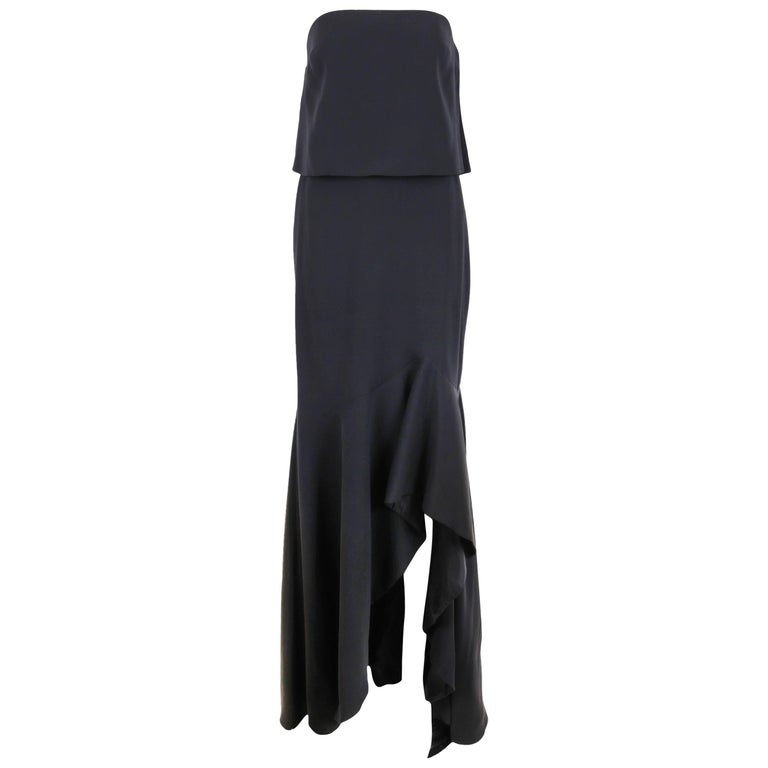 Tom Ford Black Strapless Gown with Ruffled Frontal Slit and Matching Bolero Top