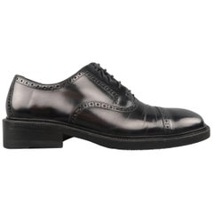 Men's GUCCI Size 9 Black Perforated Leather Square Cap Toe Brogue Lace