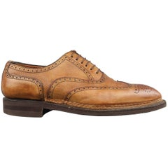 Men's BONTONI Size 11 Tan Distressed Leather Pointed Wingtip Lace Up