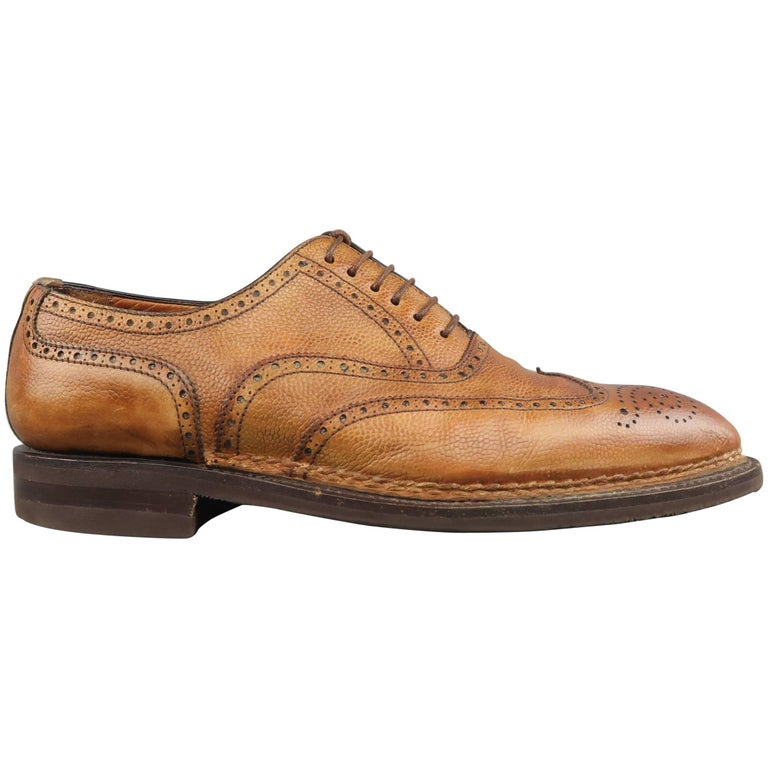 d70365ef465 Men s BONTONI Size 11 Tan Distressed Leather Pointed Wingtip Lace Up For  Sale