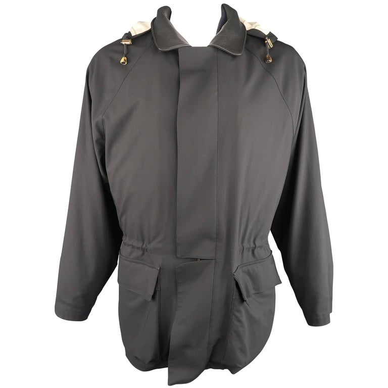 Loro Piana XL Men's Black Wool Detachable Vest Storm System Hooded Jacket