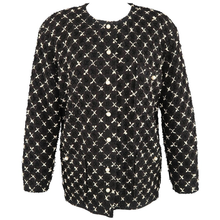 Chanel Vintage Black and White X Print Boucle Pearl Button Collarless Jacket