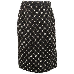 Vintage CHANEL Skirt - Small Black & White X Print Boucle Tweed Pencil Skirt
