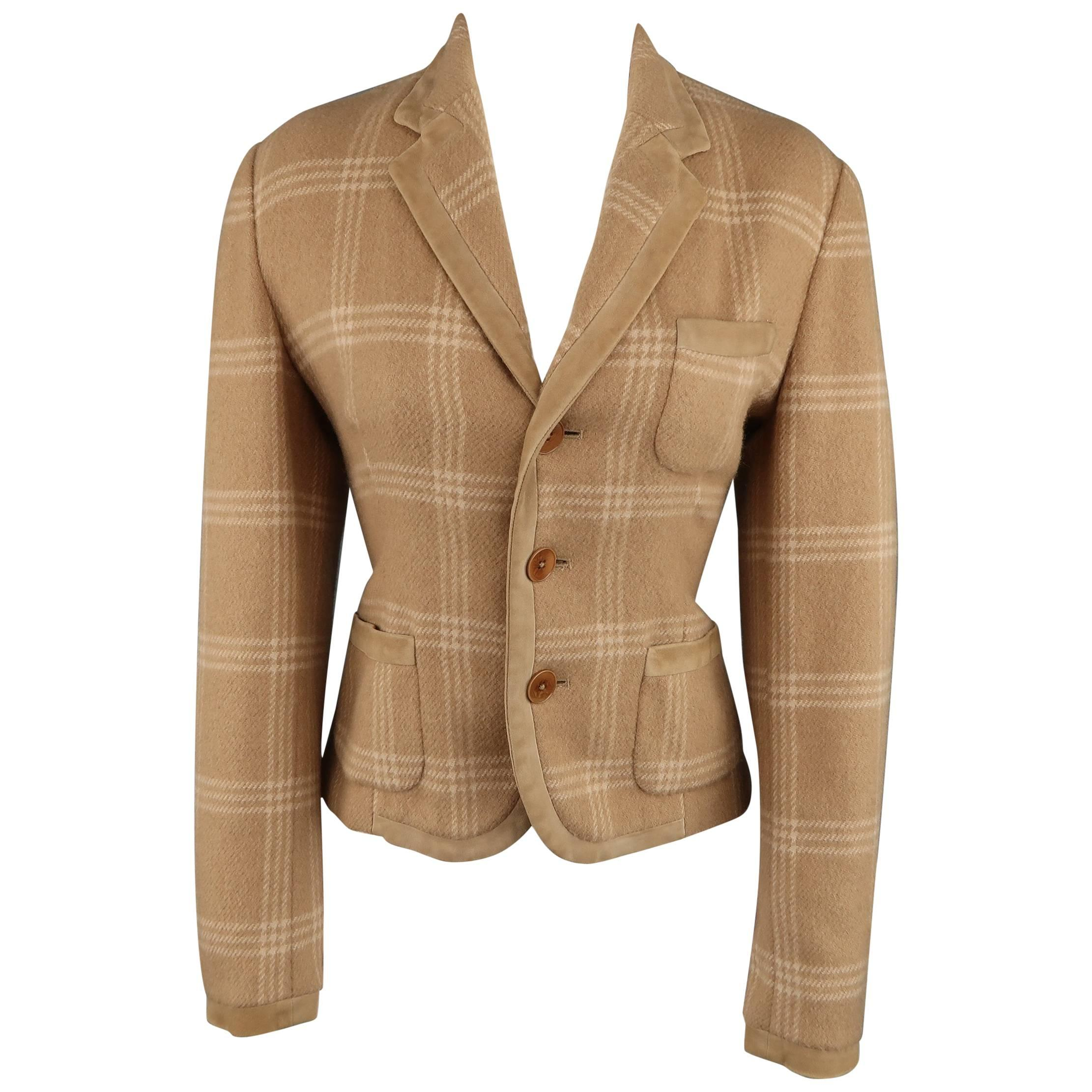 RALPH LAUREN COLLECTION Size 8 Plaid Camel Wool Suede Trim Jacket