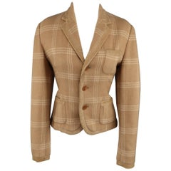 RALPH LAUREN COLLECTION Size 8 Plaid Camel Wool Suede Trim Jacket