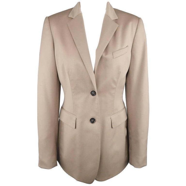 BURBERRY PRORSUM Size 6 Beige Virgin Stretch Wool Notch Lapel Blazer