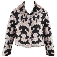 FRANCESCO SCOGNAMIGLIO Size 2 Black & Pink FLoral Brocade Silk Blend Crop Jacket