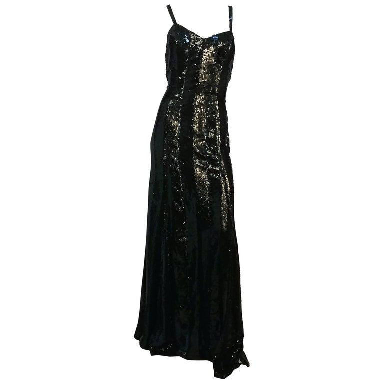 1990s Ralph Lauren Black Sequin Gown For Sale