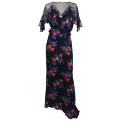 1930s Black Mesh Flower Print Dress