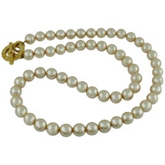 Celine Vintage Long Pearl Necklace Belt