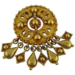Christian Lacroix Vintage Massive Gold Toned Ethnic Brooch