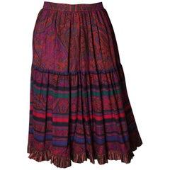 Yves saint Laurent Rive Gauche  Paisley Print  Skirt
