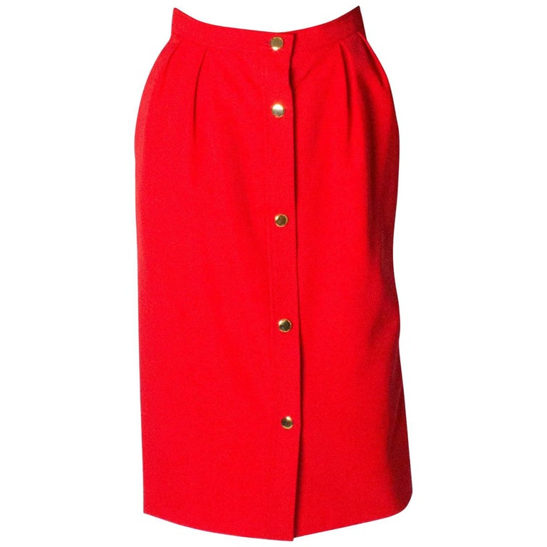 Yves Saint Laurent Vintage Button Through Skirt