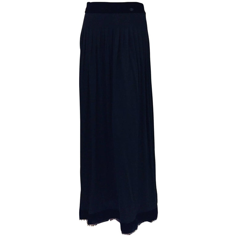 Channeling Chanel 2002 Collection Black Viscose Long Skirt with Velvet Trim
