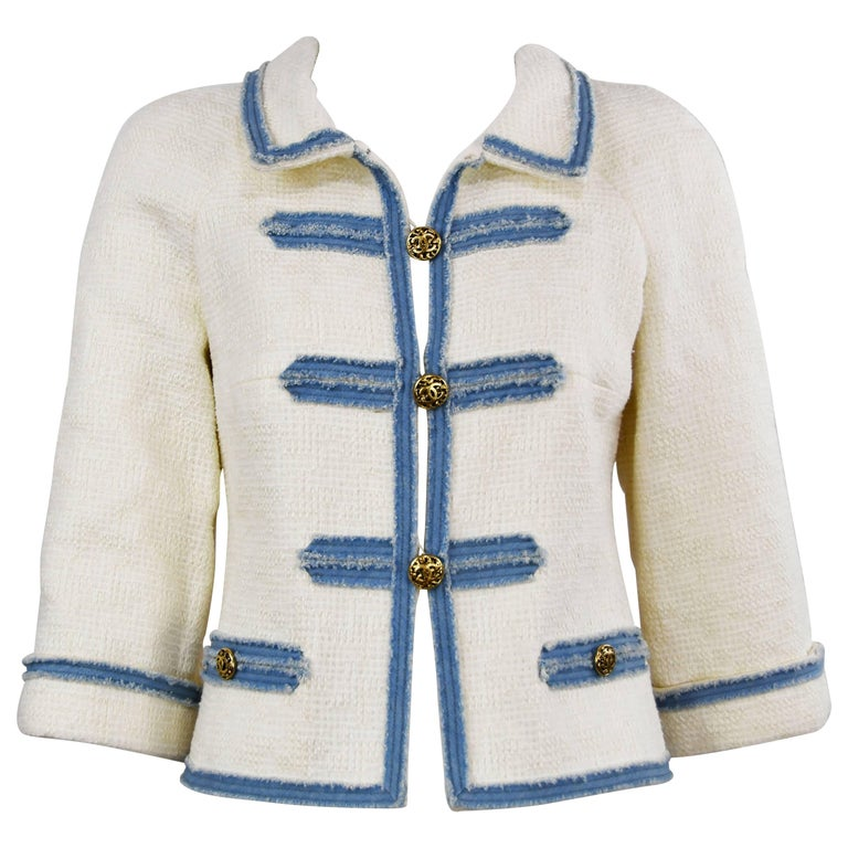 Chanel 2007 Timeless White Boucle Denim Trimmed Jacket with Logo Buttons