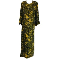 Cal Hon Hall Silk Chiffon Caftan in Green Tones and Floral Print