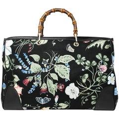 Gucci Kris Knight Black Canvas Floral Bamboo Tote Handbag